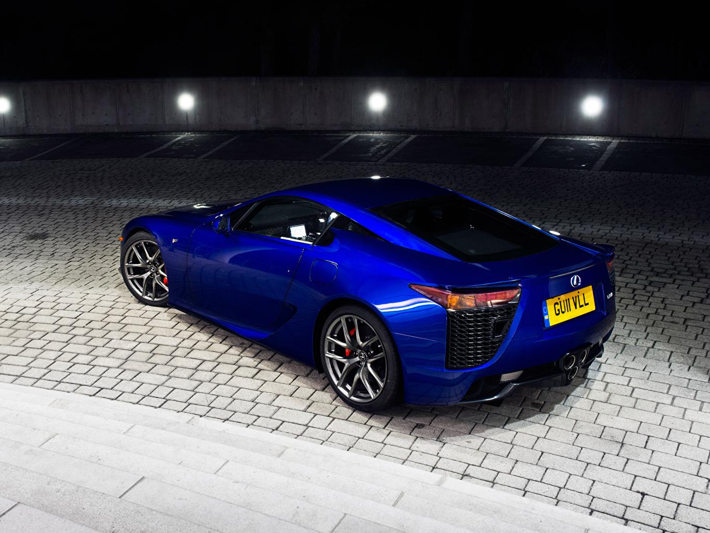 Фотографии Лексус LFA синяя  фар Тротуар автомобиль Lexus синих синие Синий Фары авто машина машины Автомобили