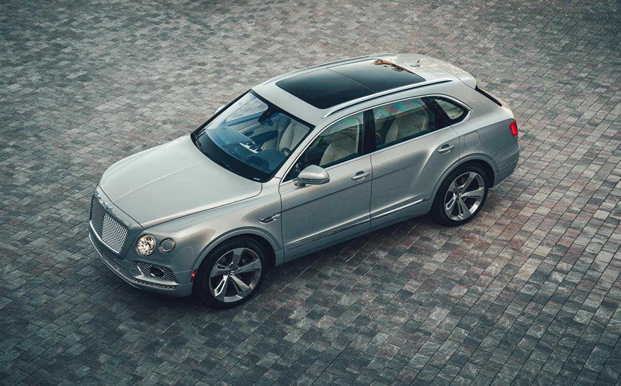 Фото Bentley 2020 Bentayga Hybrid Гибридный автомобиль серые Сверху Автомобили Бентли Серый серая авто машина машины автомобиль
