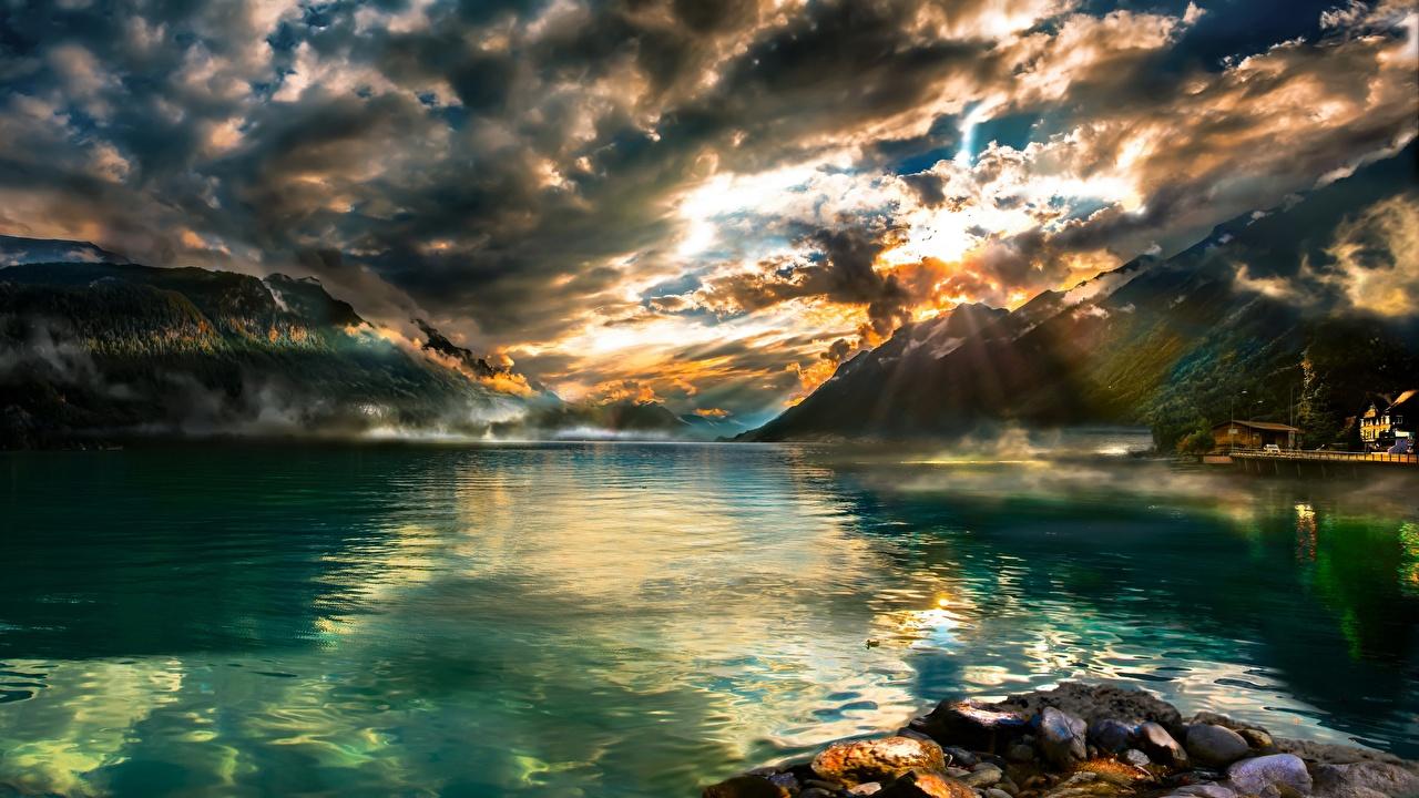 Картинка Швейцария Brienzersee гора Природа Озеро Пейзаж облако Горы Облака облачно