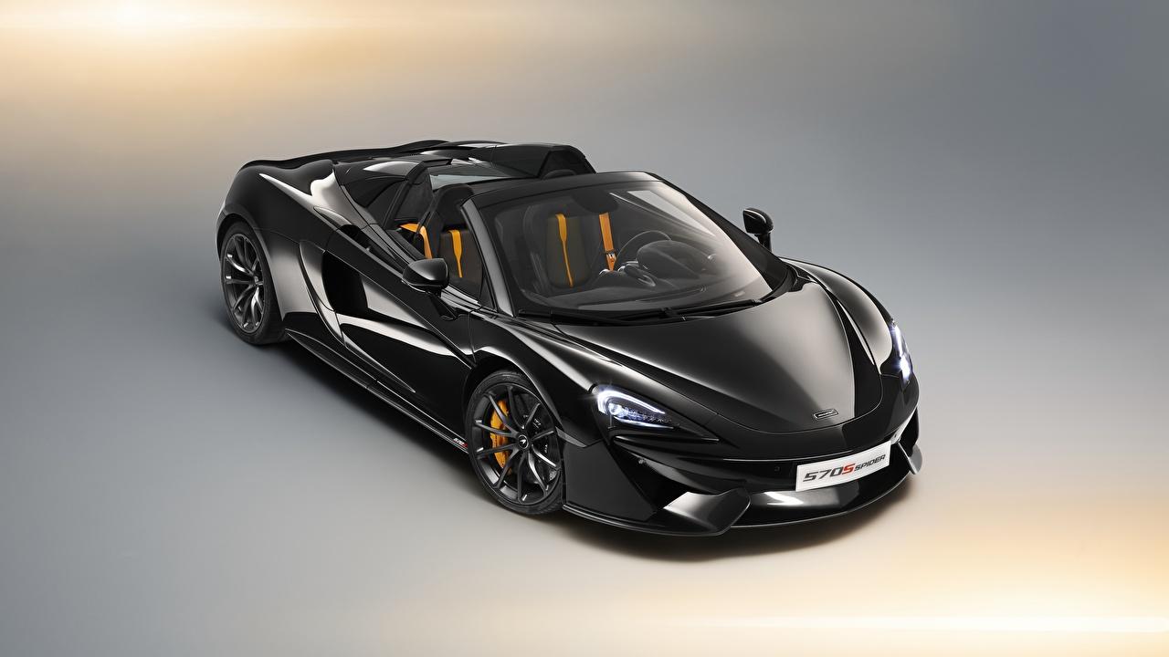 Картинка Макларен Spider 2018 570S Design Edition Металл Родстер черная Автомобили McLaren Металлический черных черные Черный авто машина машины автомобиль
