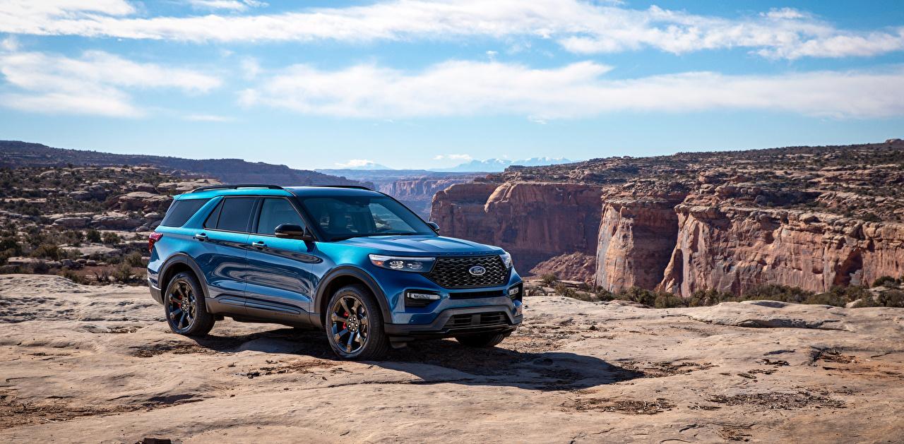 Фотографии Форд SUV 2019 Explorer ST голубых машина Металлик Ford Внедорожник Голубой голубые голубая авто машины автомобиль Автомобили