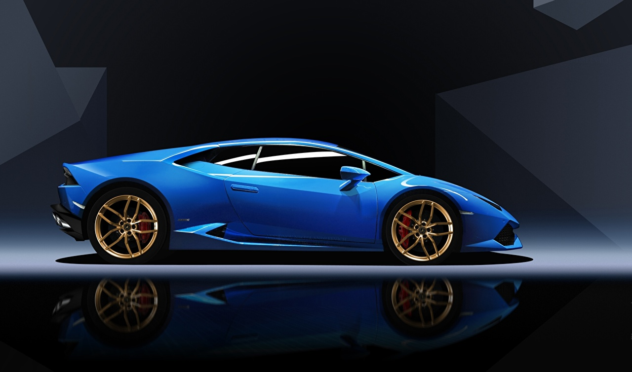 Обои Ламборгини Huracan синяя Сбоку машины Lamborghini синих синие Синий авто машина автомобиль Автомобили