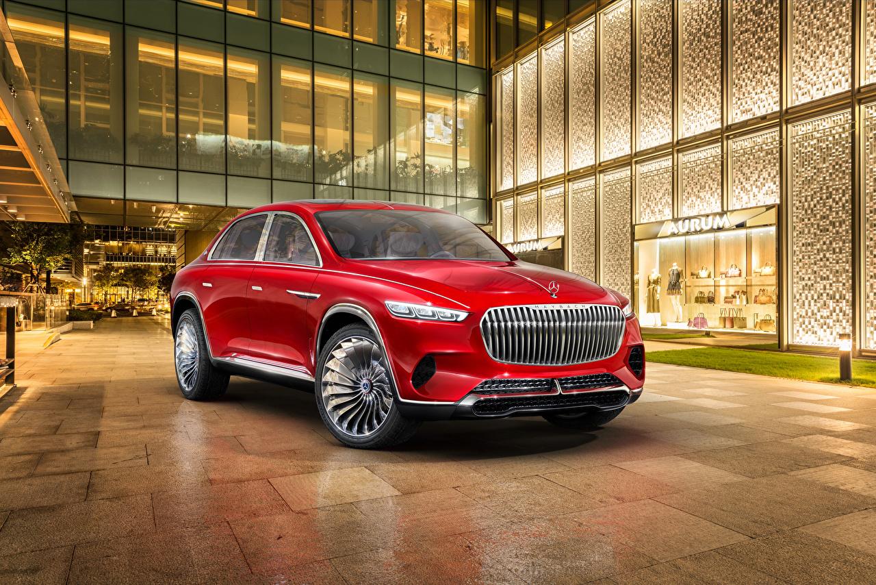 Фотографии Mercedes-Benz 2018 Vision Maybach Ultimate Luxury Красный машины Мерседес бенц красных красные красная авто машина автомобиль Автомобили