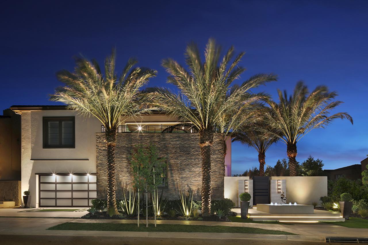 Фотографии Калифорния штаты Irvine пальма Особняк Ночные город калифорнии США америка пальм Пальмы Ночь ночью в ночи Города