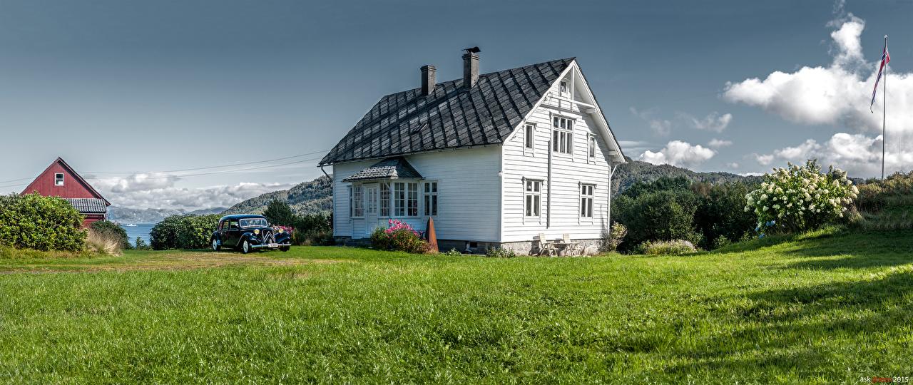 Картинка Норвегия Reksteren Природа траве Дома Трава Здания