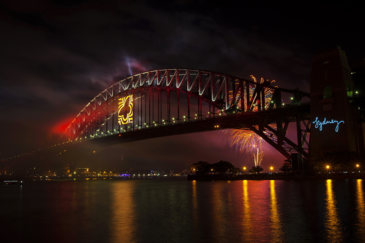 Фотография Сидней Австралия Мосты Ночь речка Города мост Реки река ночью в ночи Ночные город