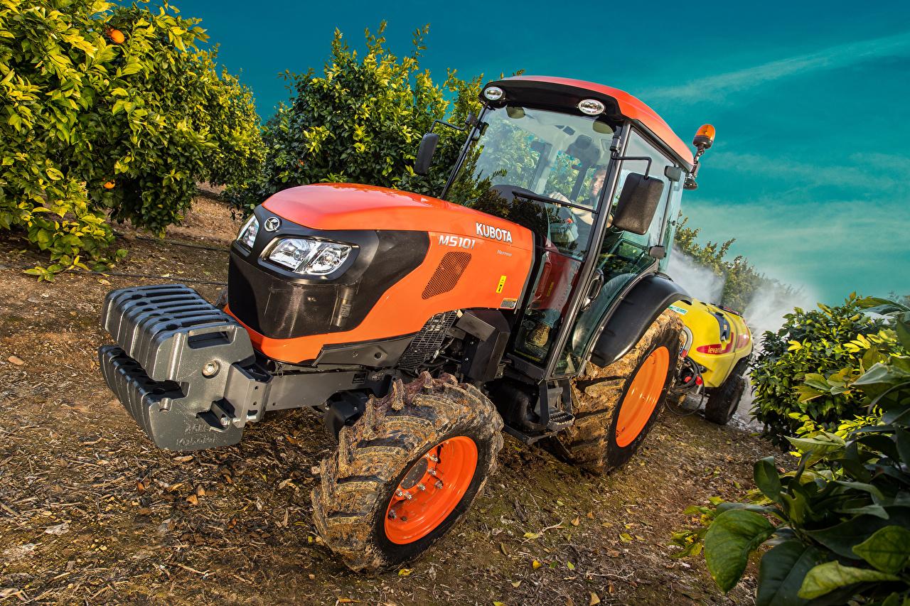 Картинка Сельскохозяйственная техника Трактор 2017 Kubota M5101N Оранжевый