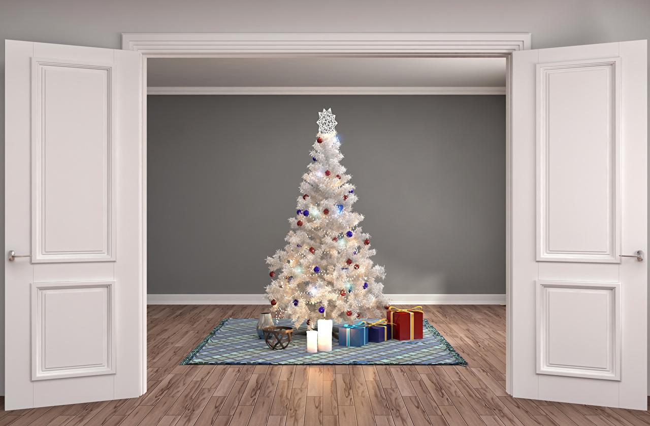 Картинки Рождество Елка 3D Графика Подарки Интерьер Дверь Свечи Новый год Новогодняя ёлка