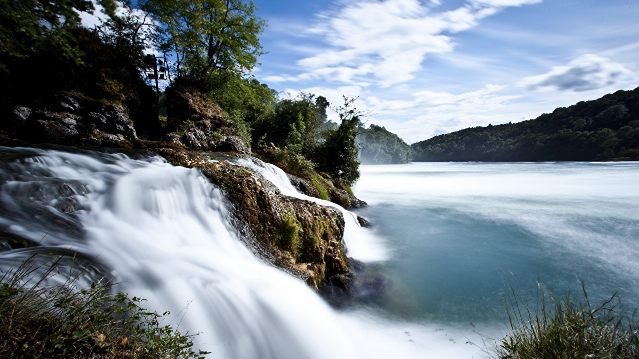 Фотография Швейцария Rhine Falls Природа Водопады Реки река речка