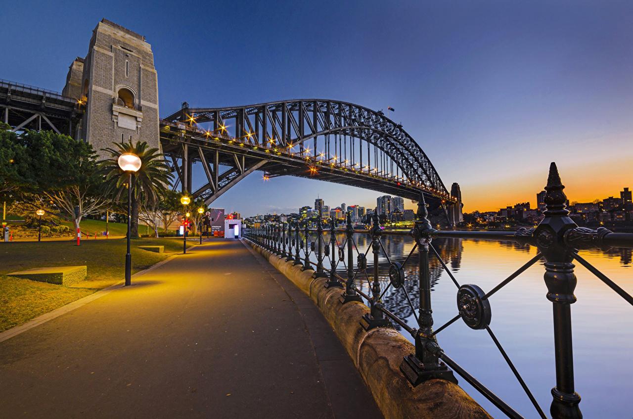 Обои набережная, ночь, австралия, фонари. Города foto 13