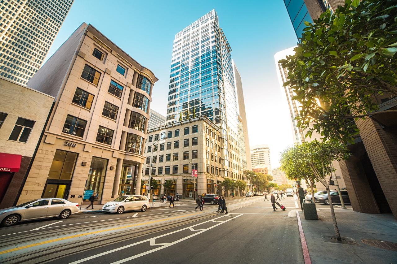 Фотографии Сан-Франциско США улице Дороги Дома Города штаты америка улиц Улица город Здания