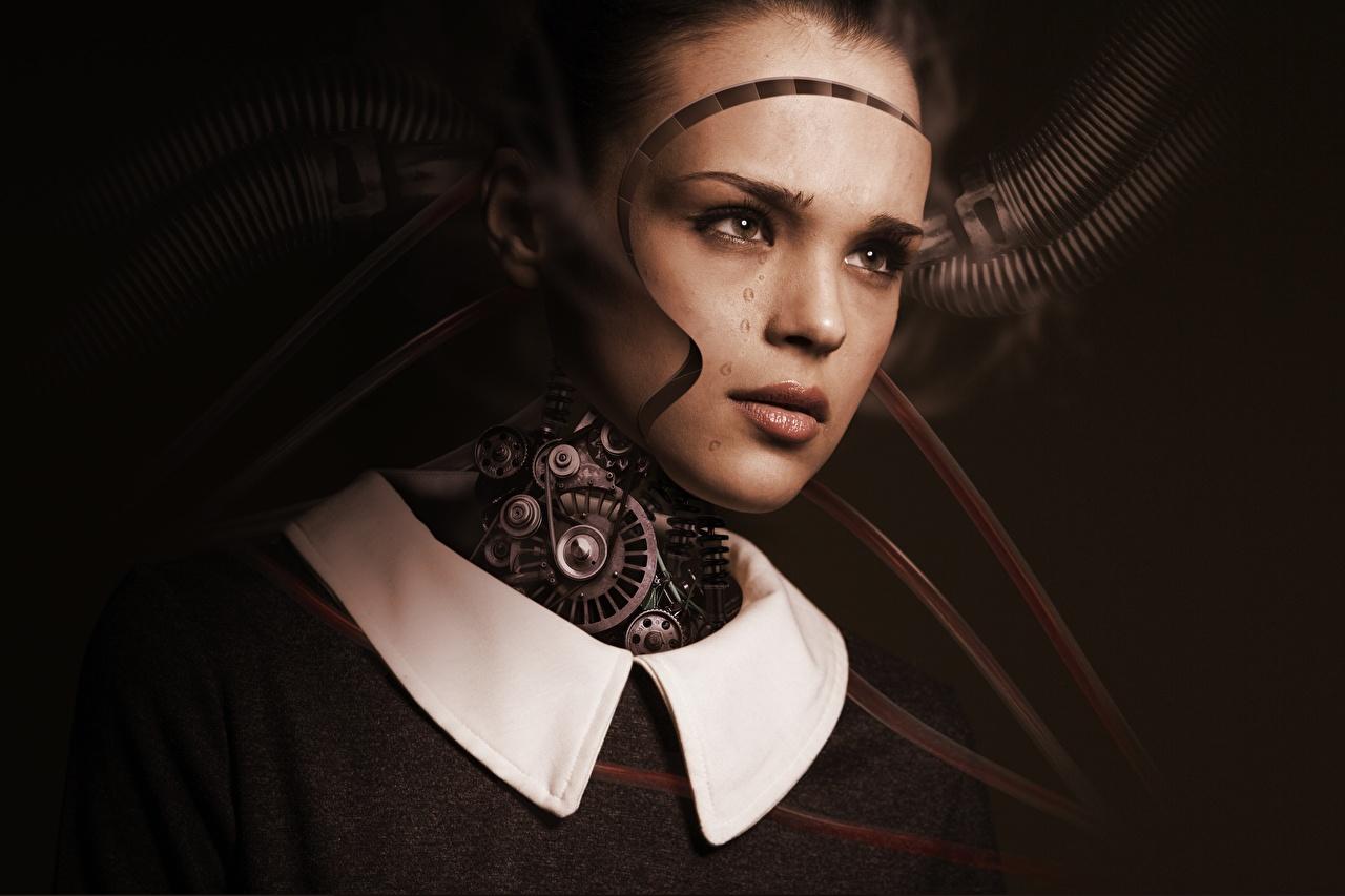 Картинка Робот шестерня Лицо Девушки Фантастика Голова Взгляд Шестеренки Зубчатое колесо Фэнтези смотрит