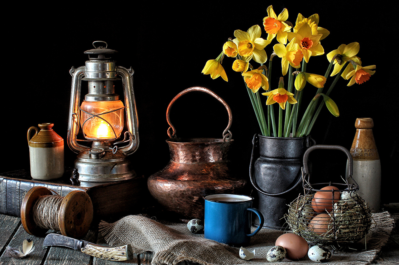 Картинки яйцо Керосиновая лампа Цветы Нарциссы Лампа кружки Натюрморт яиц Яйца яйцами цветок ламп лампы Кружка кружке