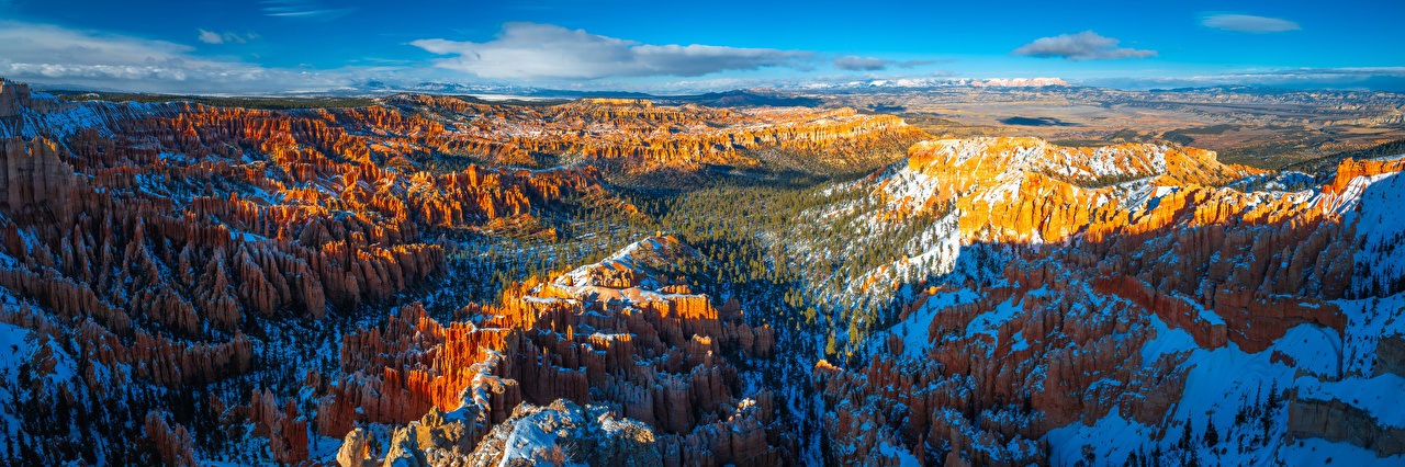 Картинки штаты Панорама Bryce Canyon National Park, Utah скалы Каньон Природа парк Пейзаж США америка панорамная Утес скале Скала каньона каньоны Парки