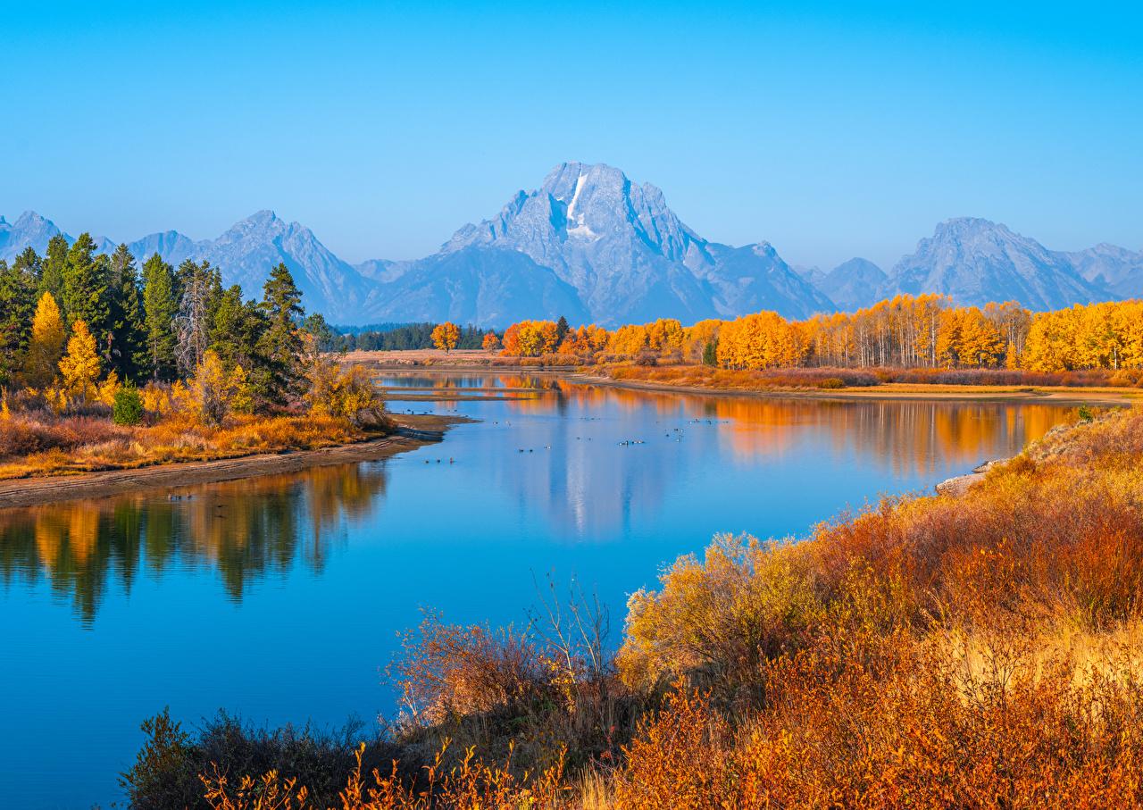 Обои для рабочего стола штаты Grand Tetons National Park, Wyoming гора Осень Природа парк речка США америка Горы осенние Парки Реки река