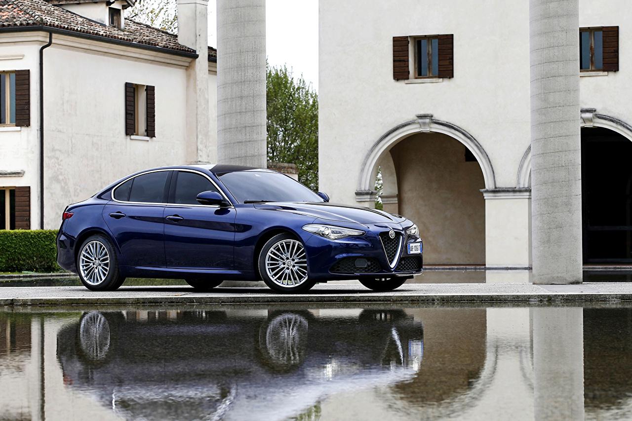 Картинки Alfa Romeo 2016 Giulia Worldwide синяя Металлик Автомобили Альфа ромео синих синие Синий авто машина машины автомобиль