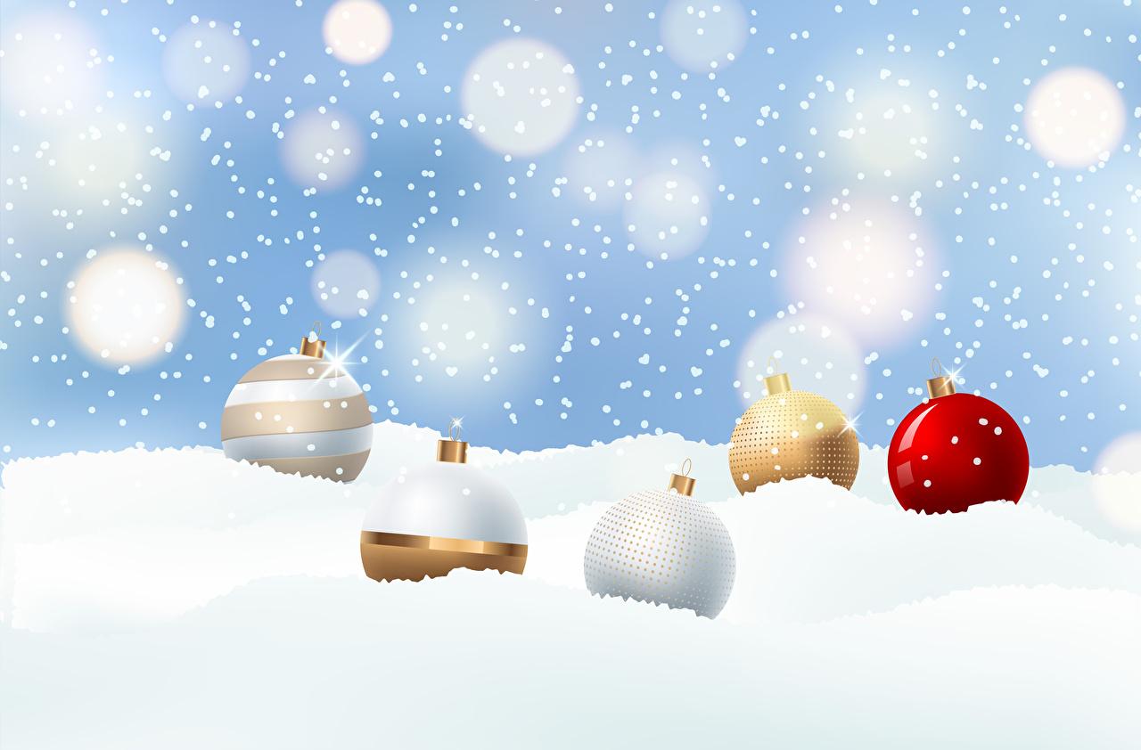 Картинка Новый год Снежинки снегу Шарики Векторная графика Рождество снежинка Снег снега снеге Шар