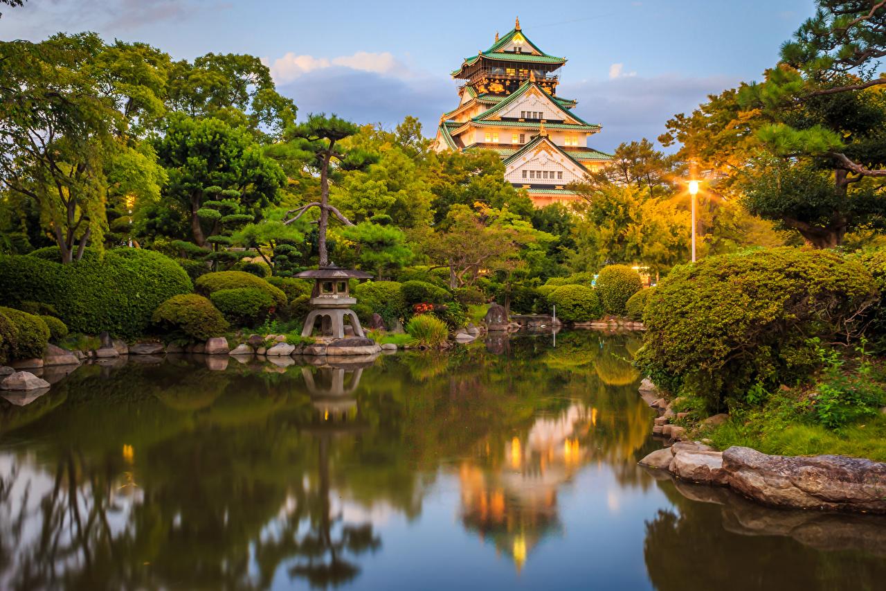 Фото Киото Япония Osaka Castle park Замки Природа Пруд Парки Уличные фонари Кусты Дизайн