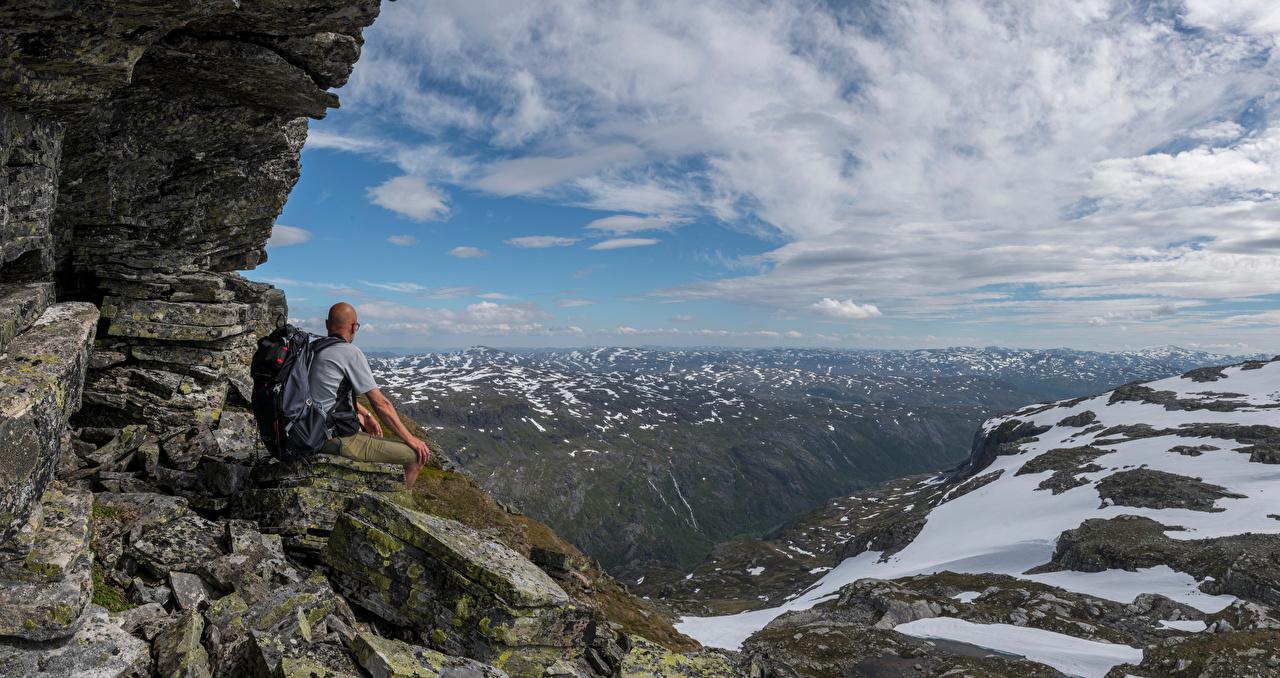 Фотография Норвегия Kvanndal гора Утес Природа Облака Горы Скала скале скалы облако облачно