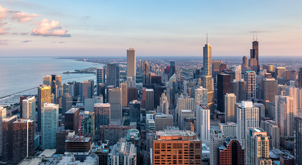 Фотография Чикаго город штаты Сверху Небоскребы Здания Города США америка Дома город