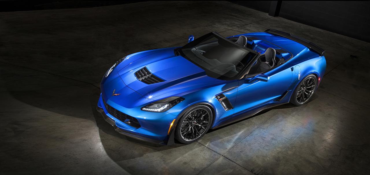 Фото Шевроле 2015–19 Corvette Z06 Convertible with Z07 Package Кабриолет синяя Автомобили Chevrolet кабриолета синих синие Синий авто машина машины автомобиль