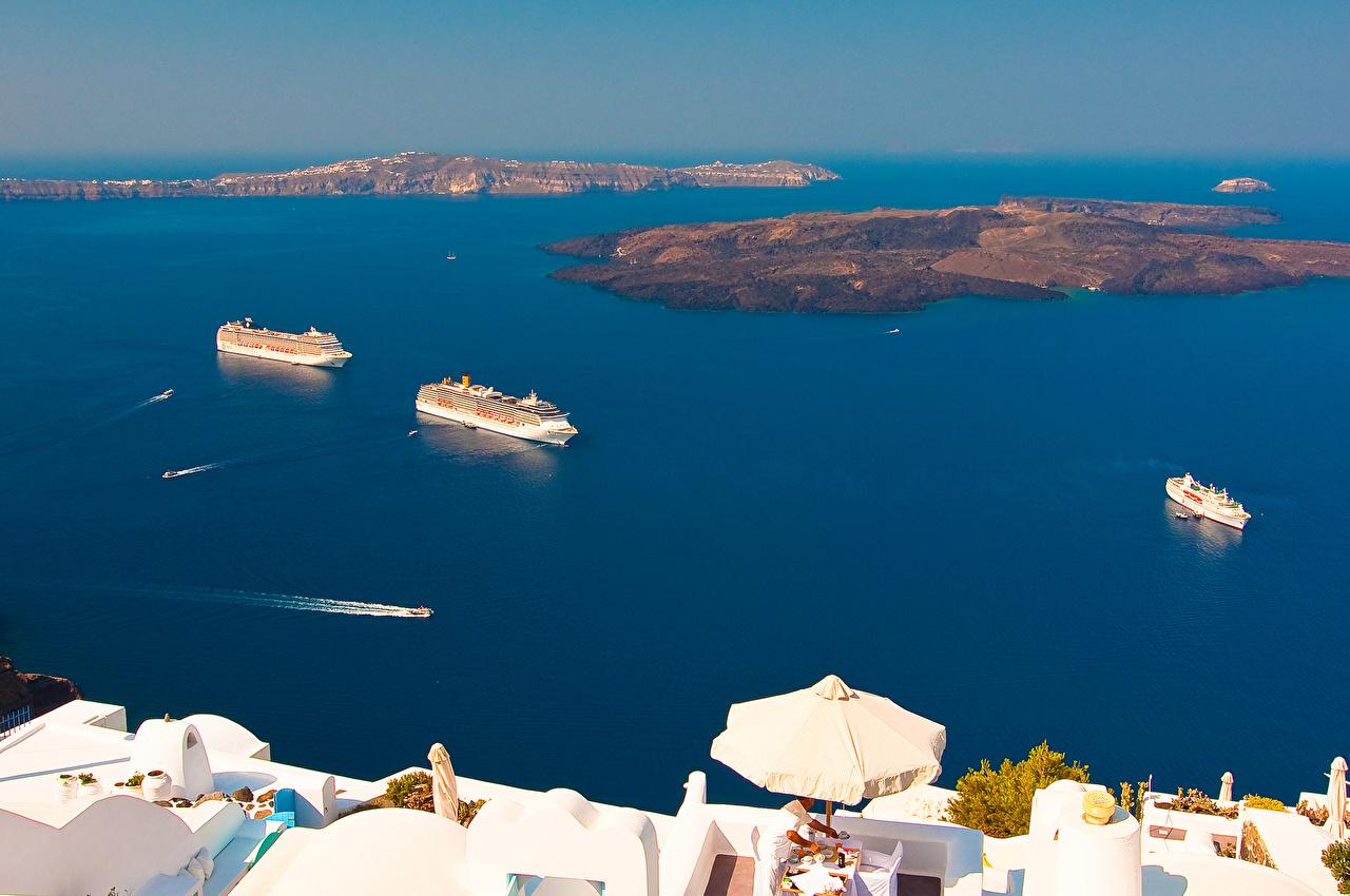 Картинки Санторини Греция Море Остров Корабли город Тира Фира корабль Города