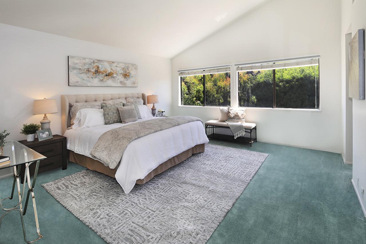 Обои для рабочего стола спальне Интерьер ковра Лампа кровати дизайна Спальня спальни ламп лампы Ковер ковры ковров Кровать постель Дизайн