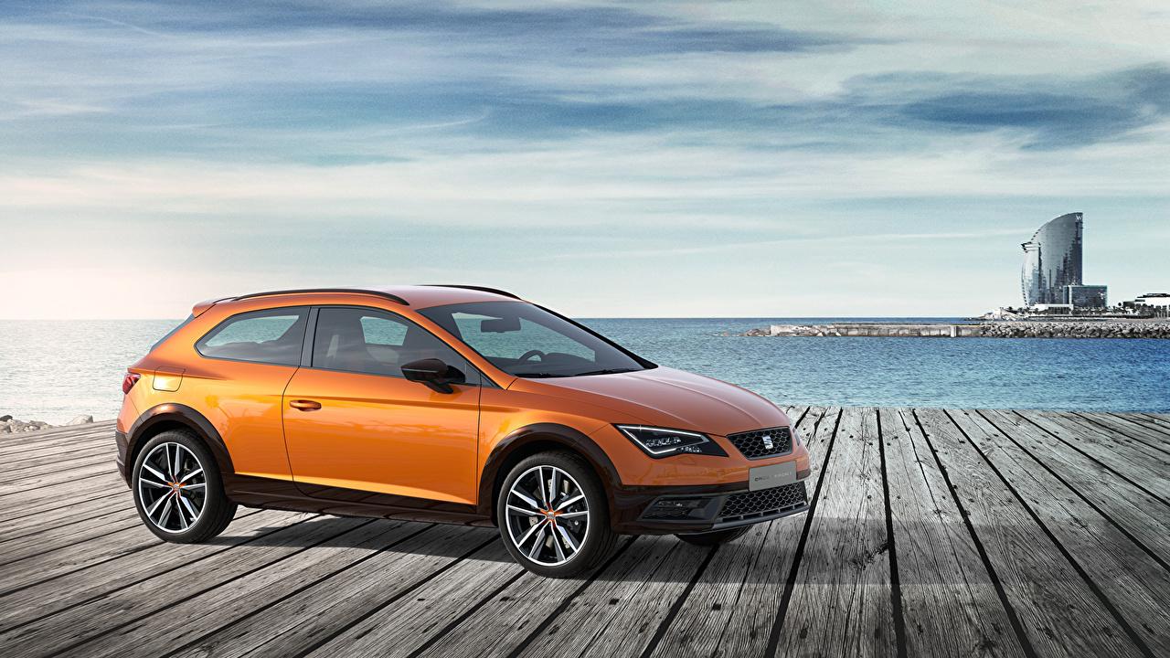 Обои для рабочего стола Сиат 2015 Leon Cross Sport Concept Оранжевый Сбоку Автомобили Seat оранжевых оранжевые оранжевая авто машина машины автомобиль