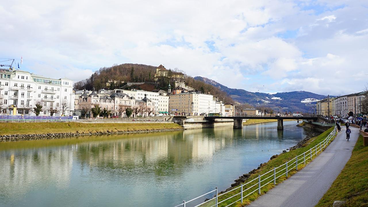 Фотографии Зальцбург Австрия мост речка город Мосты Реки река Города