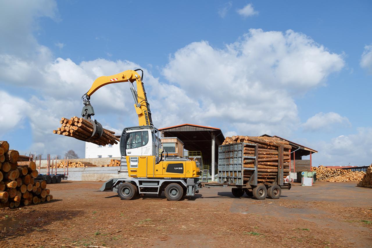 Обои для рабочего стола Форвардер 2015-17 Liebherr LH 35 M Timber Litronic Бревна бревно