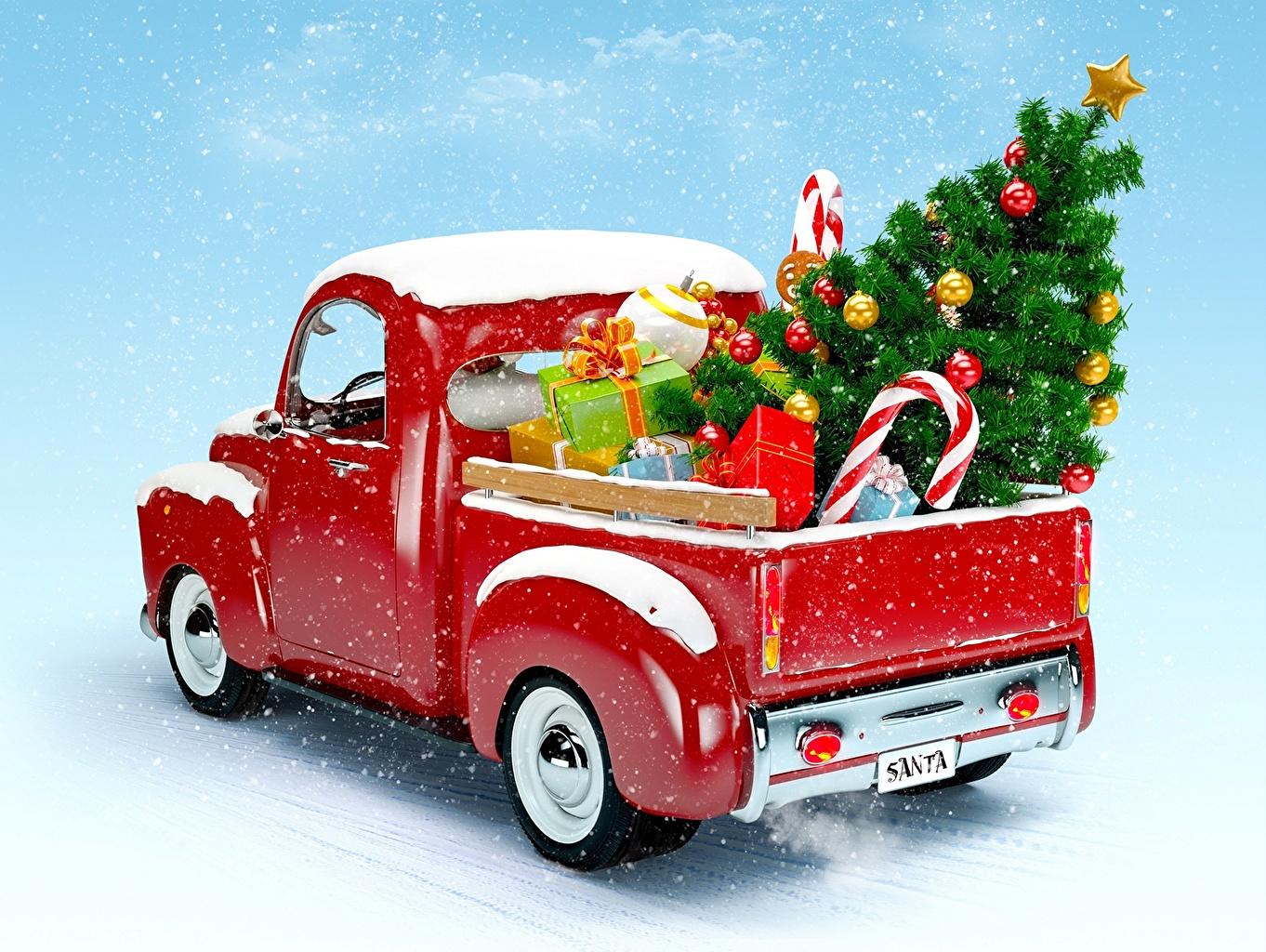 Фотографии Новый год Новогодняя ёлка Подарки машины Праздники