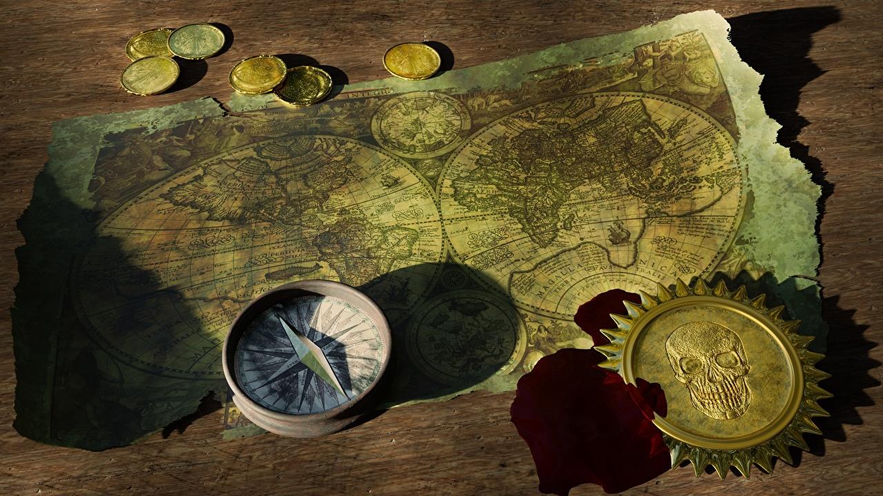 Фотография Монеты компаса Географическая карта Деньги Старый Компас старая старые