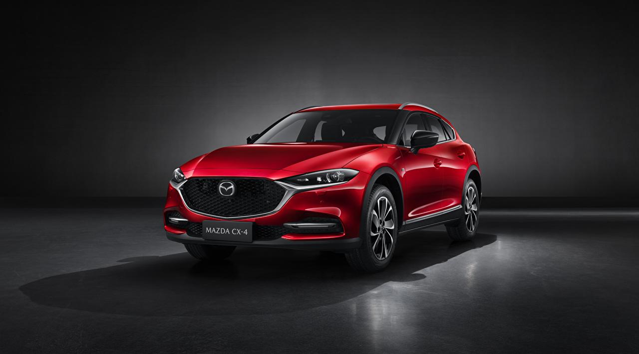 Картинка Мазда CUV CX-4, 2019 красная Металлик автомобиль Mazda Кроссовер Красный красные красных авто машины машина Автомобили