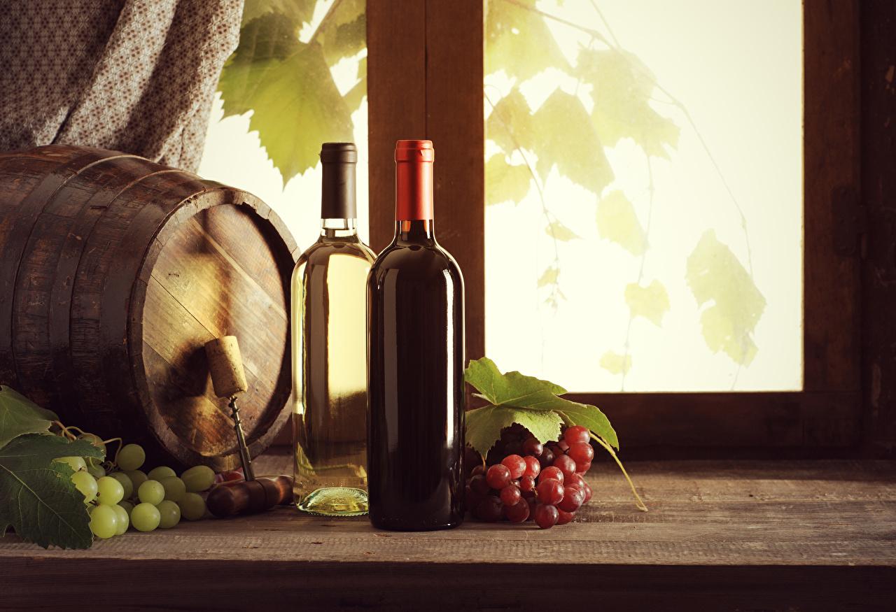 Фотографии Вино Бочка Виноград Бутылка Продукты питания Еда Пища