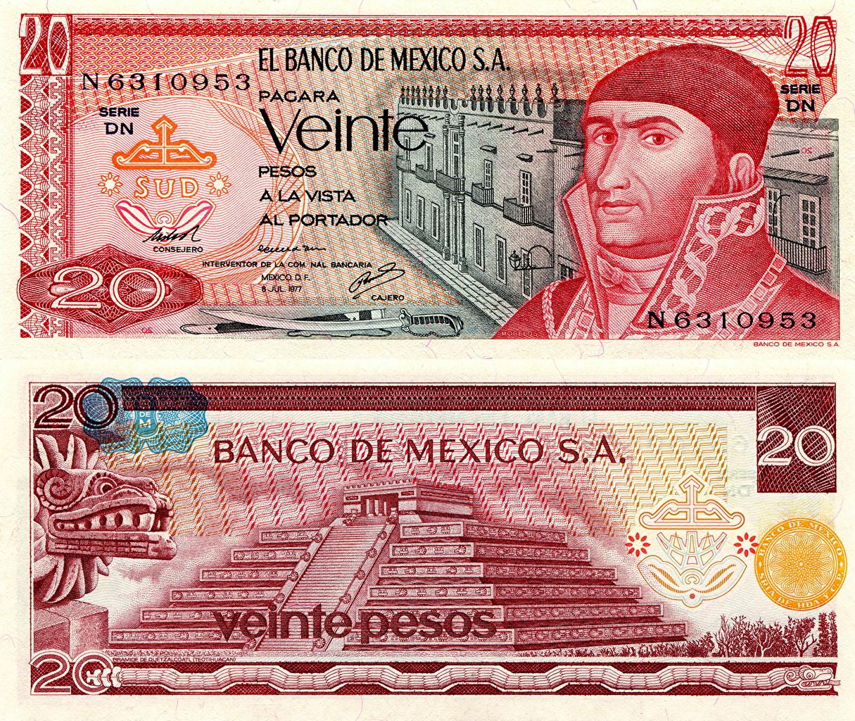 Фотография Купюры Мексика 20 pesos Деньги Банкноты
