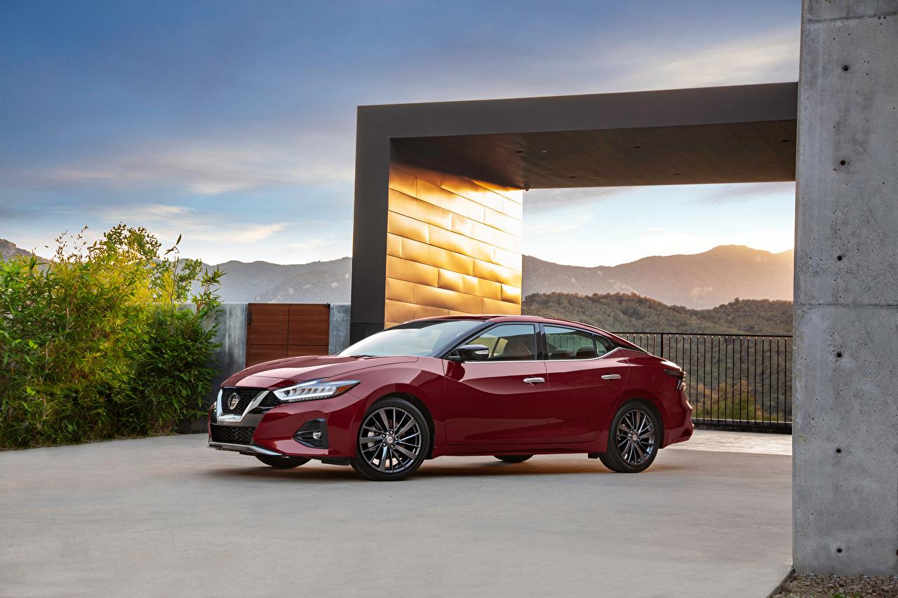 Картинки Ниссан 2019 Maxima Platinum Бордовый Металлик автомобиль Nissan бордовая бордовые темно красный авто машина машины Автомобили