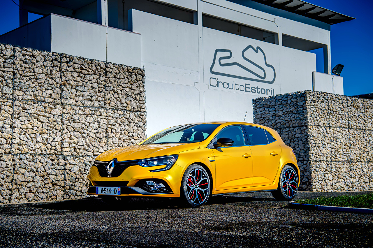 Картинка Renault 2018 Megane R.S. Trophy Worldwide Желтый Авто Рено Машины Автомобили