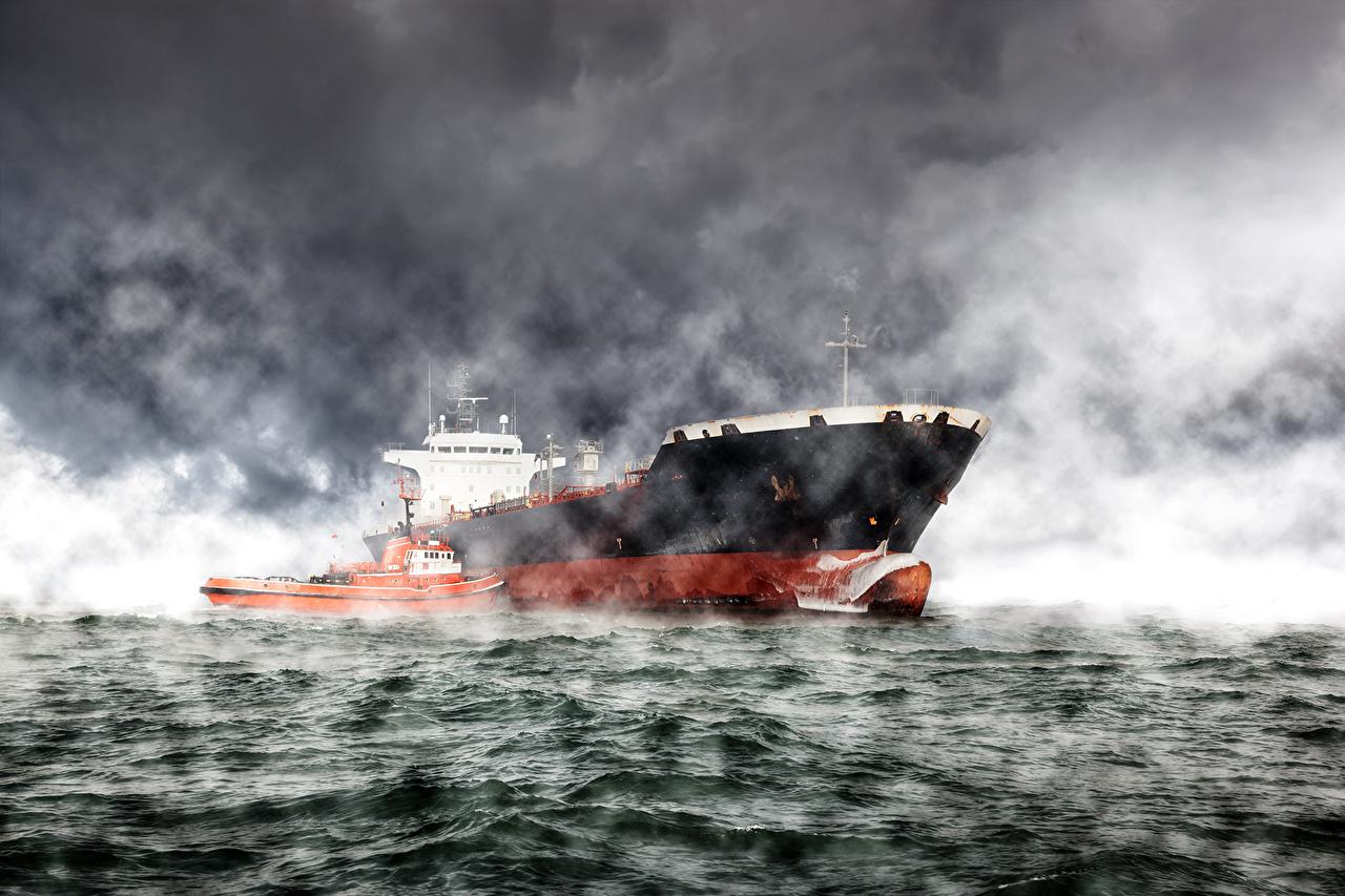 Картинка Танкер Море Волны Корабли Катера