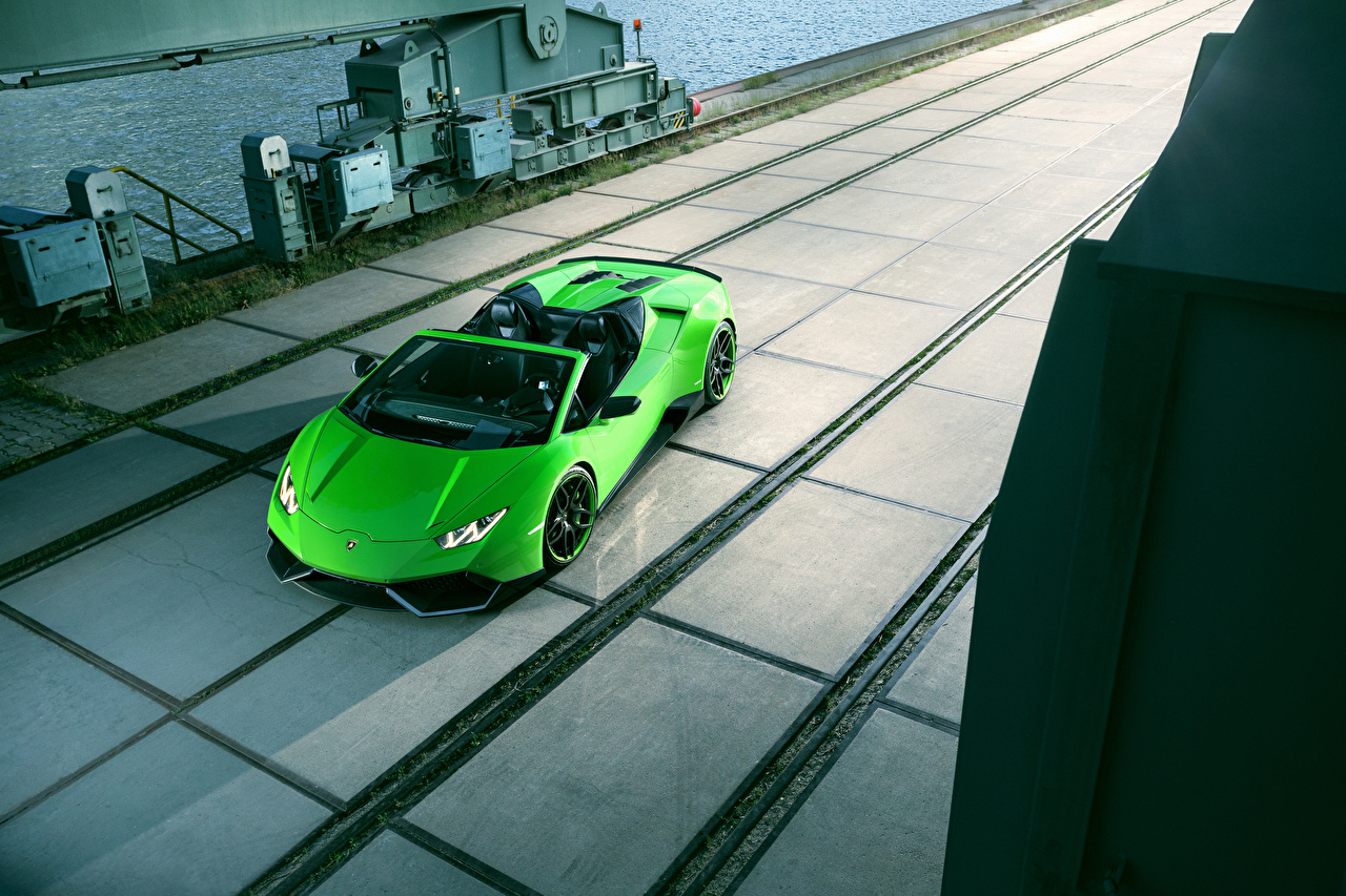 Обои Lamborghini 2016 Novitec Torado Huracán LP 610-4 Spyder Родстер Салатовый Автомобили Ламборгини Авто Машины