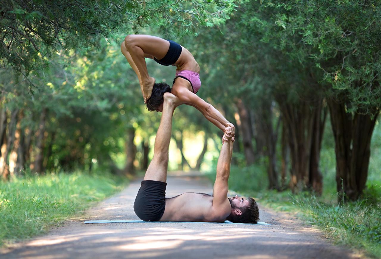 Фотография Мужчины тренируется две Спорт Девушки Гимнастика Ноги рука мужчина Тренировка физическое упражнение 2 два Двое вдвоем девушка спортивный спортивные спортивная молодые женщины молодая женщина ног Руки