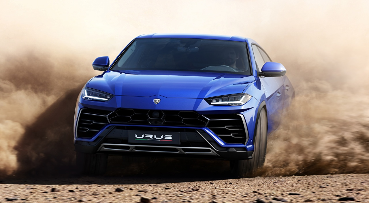 Картинка Lamborghini Кроссовер Urus, Off-Road, 2018 Синий едущий Спереди автомобиль Ламборгини CUV синяя синие синих едет едущая Движение скорость авто машины машина Автомобили