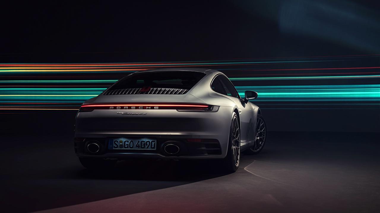 Картинка Порше 911 Carrera 4S 2019 машина вид сзади Porsche авто Сзади машины автомобиль Автомобили