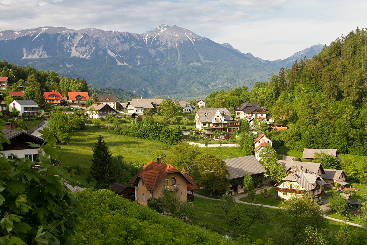 Картинки Словения Горы Леса Здания Города гора лес Дома город