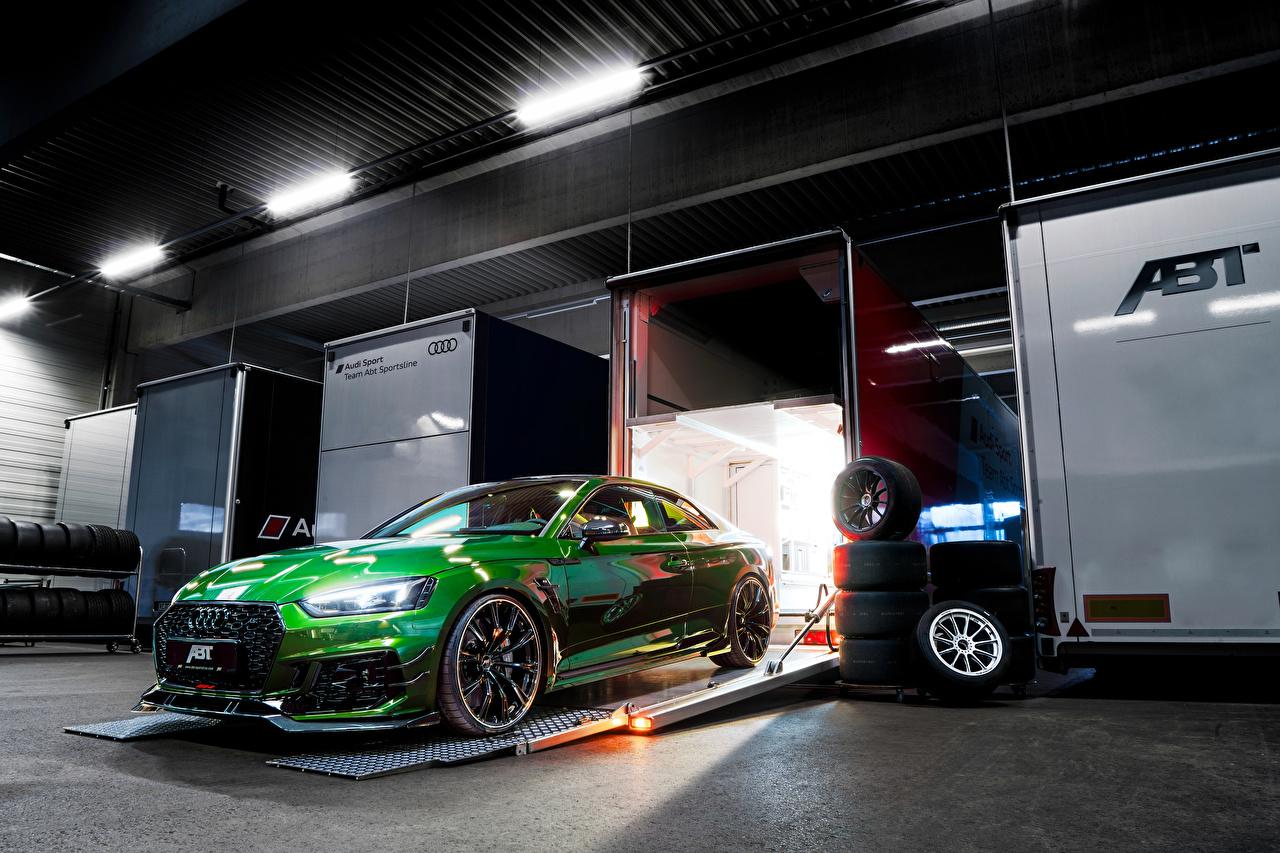 Фотографии Audi Стайлинг 2018 ABT RS 5-R Coupe Купе зеленая автомобиль Ауди Тюнинг зеленых зеленые Зеленый авто машина машины Автомобили