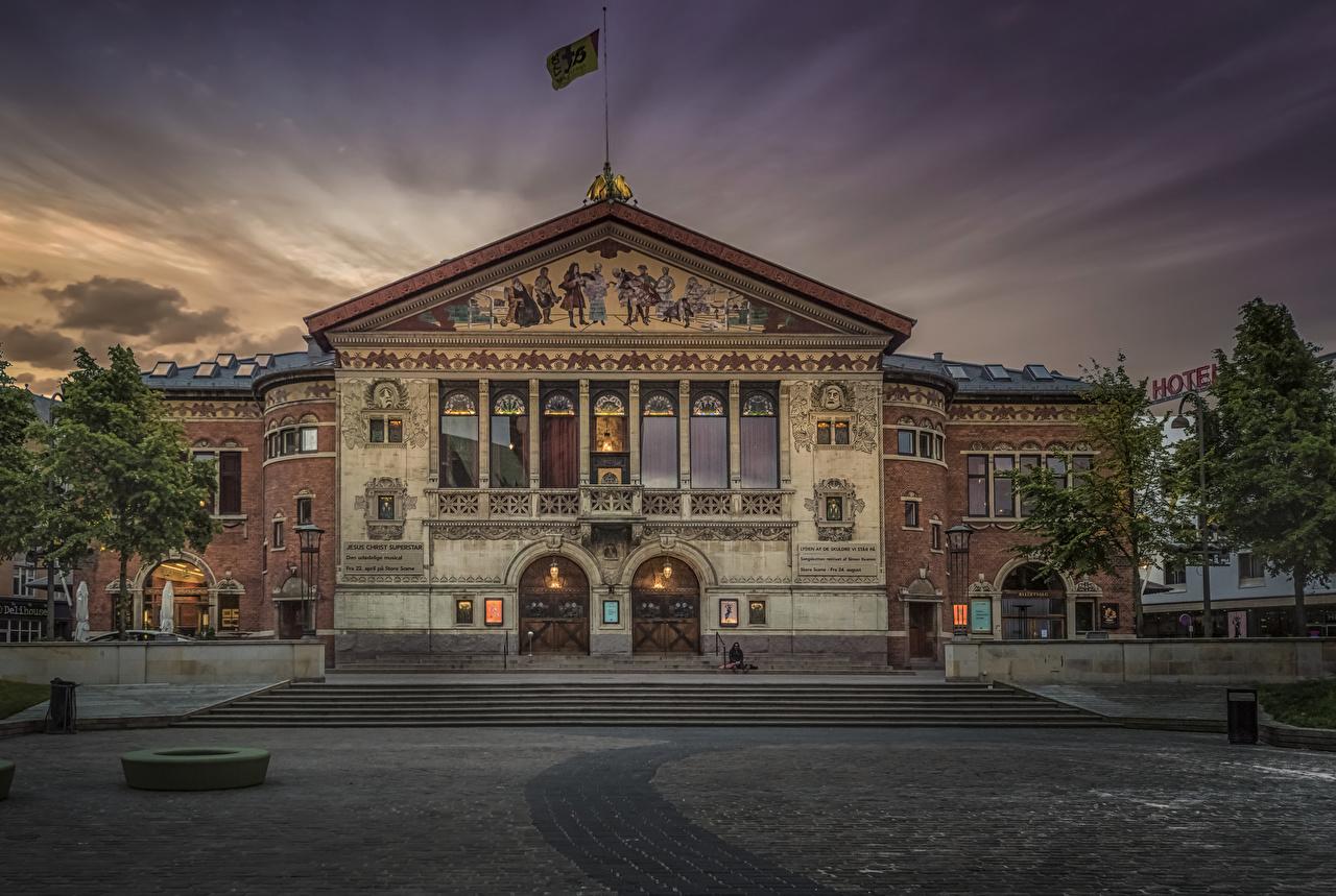 Фотография Дания Theatre in Aarhus Вечер Дома Города город Здания