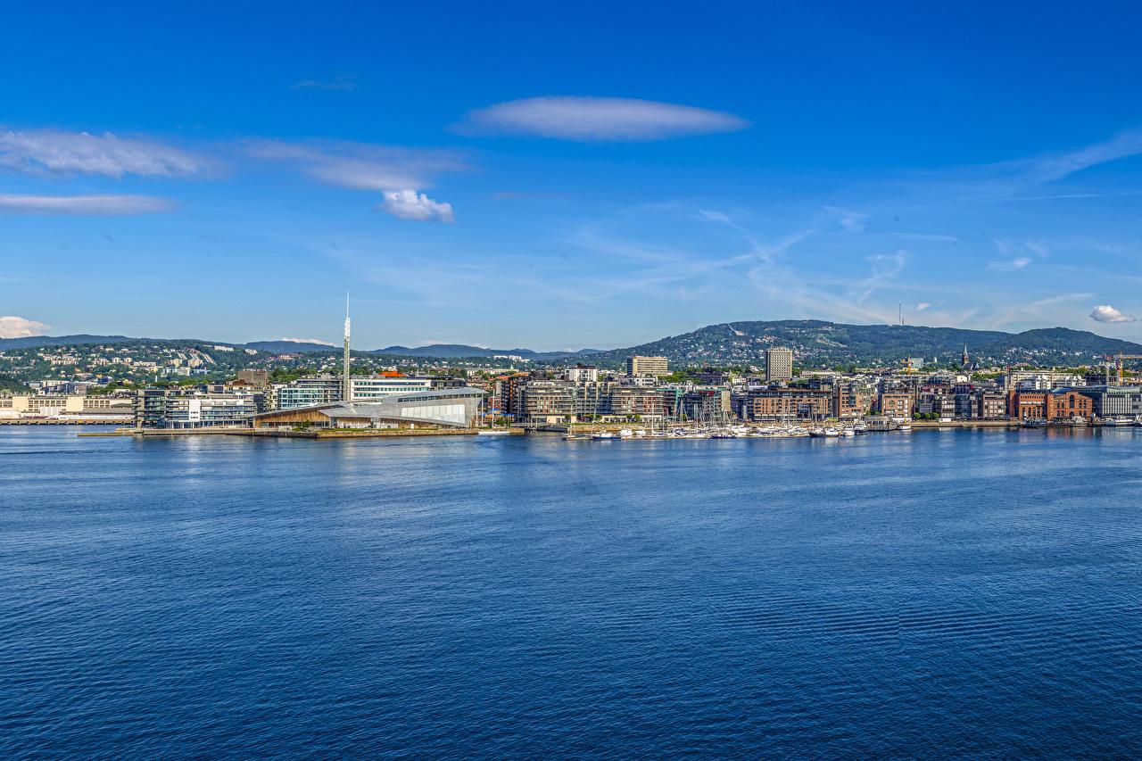 Фотографии Осло Норвегия холмов Пирсы заливы Дома Города холм Холмы Залив залива Причалы Пристань город Здания
