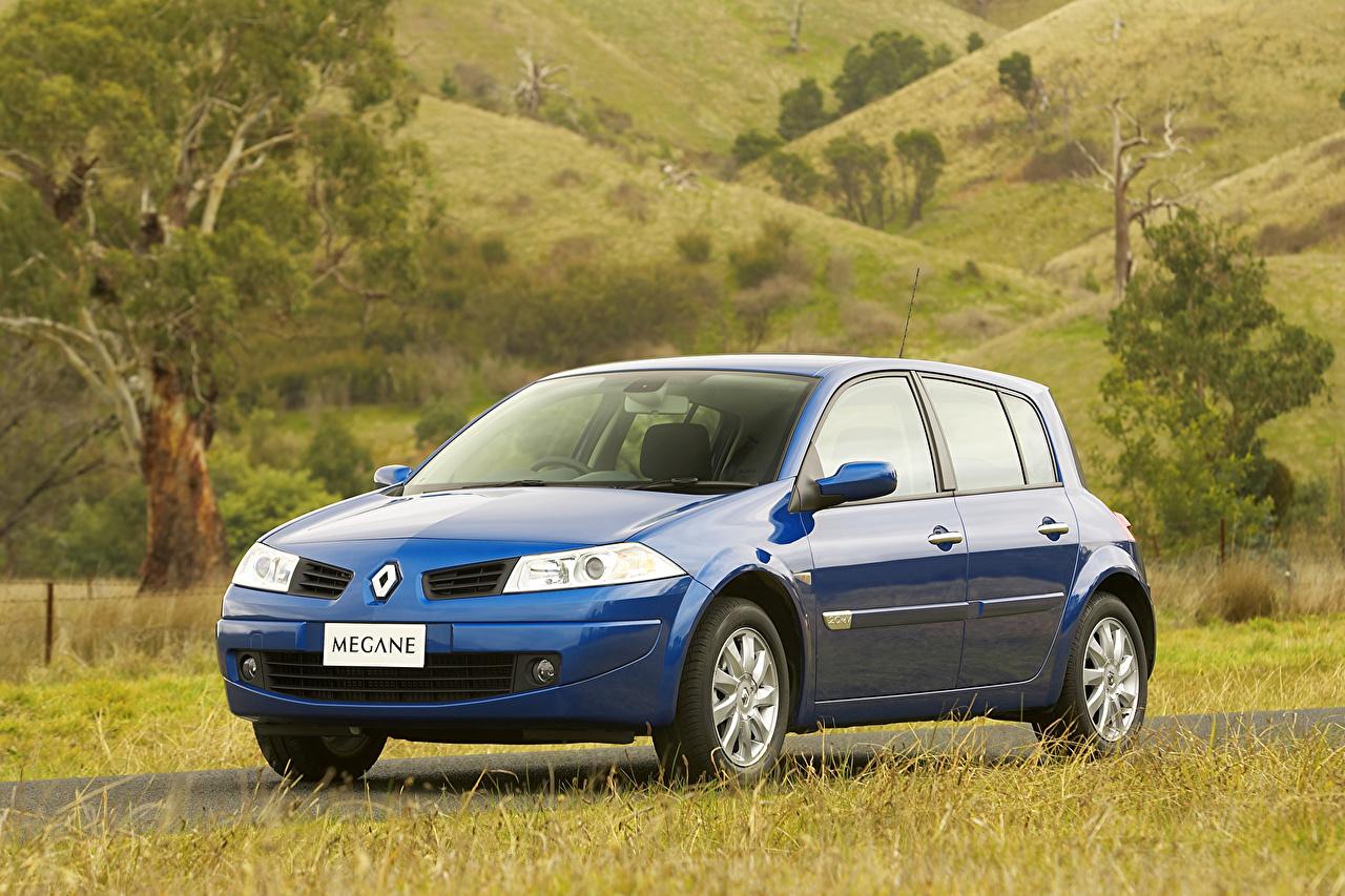 Фотография Renault 2006-09 Megane 5-door Синий Металлик Автомобили Рено синих синие синяя авто машина машины автомобиль