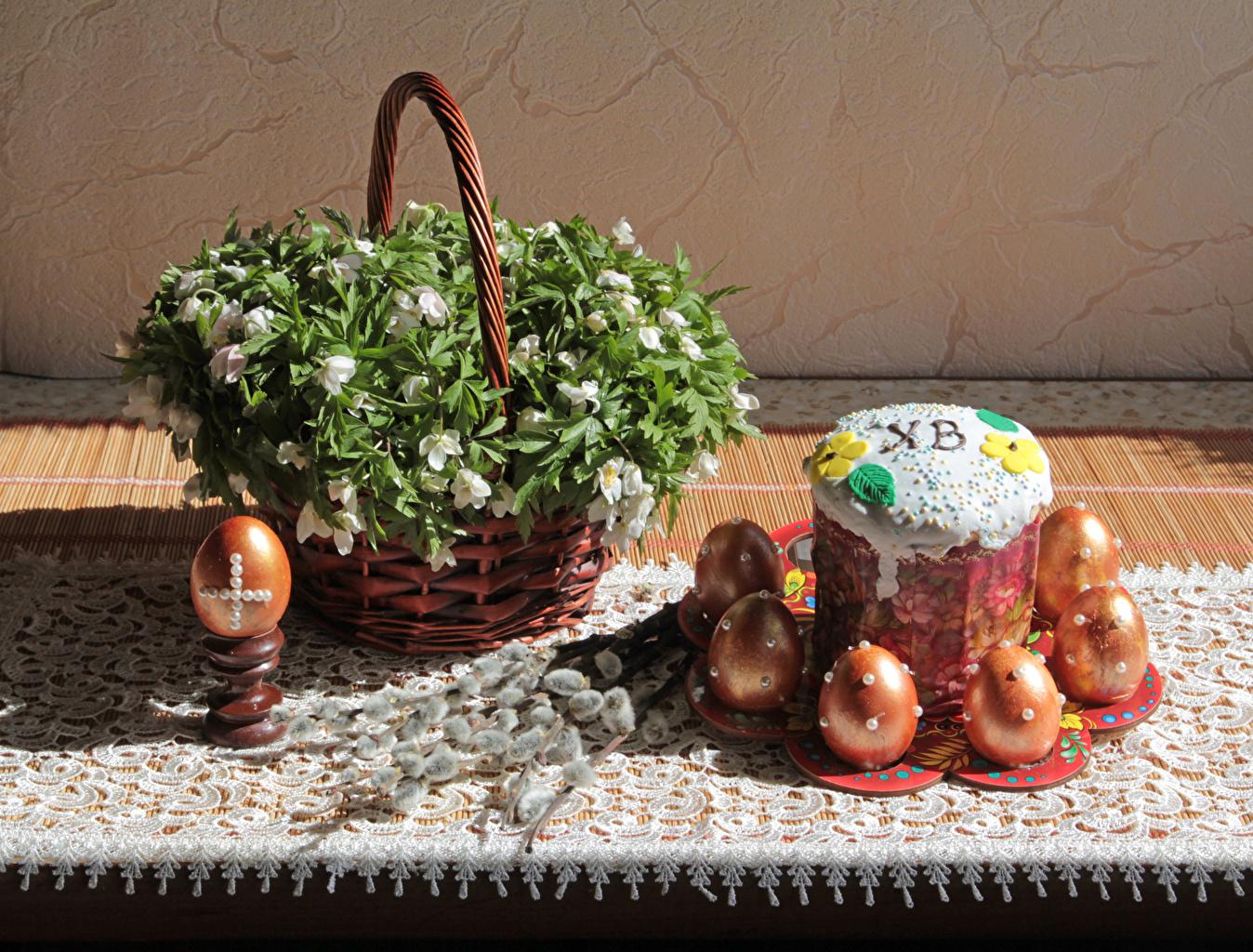 Фотография Пасха Яйца Кулич Корзинка на ветке Продукты питания яиц яйцо яйцами корзины Корзина Еда Пища Ветки ветка ветвь