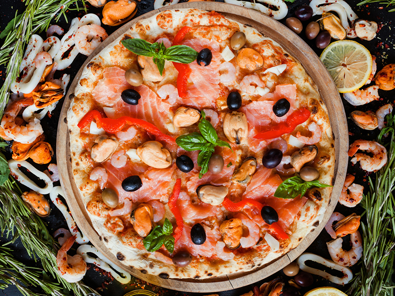 Фотографии Пицца Оливки Фастфуд Креветки Еда Быстрое питание Пища Продукты питания