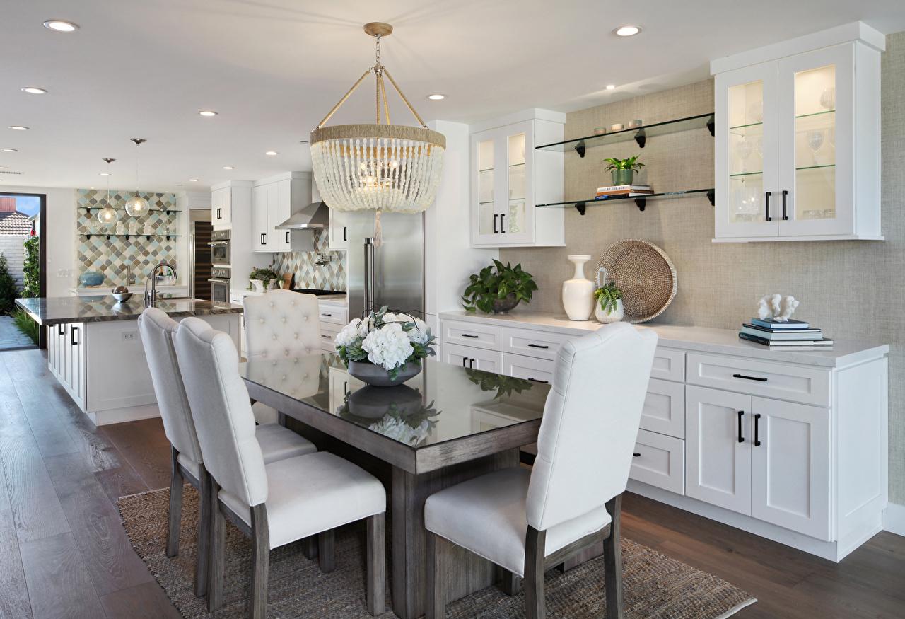 Картинка Кухня Интерьер стул стола люстры Дизайн кухни Стол столы Люстра Стулья дизайна